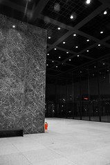 Neue Nationalgalerie (polarhavet) Tags: red bw berlin art museum architecture germany deutschland fire nikon gallery kunst galerie extinguisher neue selective colorization nationalgalerie d90
