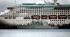 VicOuterHarbourCruiseShipsOgdenPoint(7) (gordhandford) Tags: britishcolumbia navy victoria cruiseship jamesbay dnd ogdenpoint 709 rcn