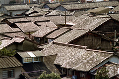 20-527 (ndpa / s. lundeen, archivist) Tags: city houses homes roof color film rooftop japan architecture 35mm buildings japanese kyoto rooftops nick roofs tiles 20 1970s 1972 residential residences tiled dewolf honshu  tiledroofs nickdewolf photographbynickdewolf reel20