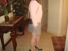 Grey Mini Skrt, Blk Ptn HH (dbbys shoes) Tags: stockings tv sweater shoes highheels cd longhair skirt crossdressing transvestite miniskirt nylons blackpatent
