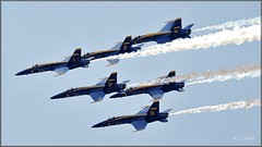 Blues Over Latrobe (Images by A.J.) Tags: show blue plane airplane us fighter pennsylvania aircraft aviation military air navy aerial formation airshow demonstration pa angels hornet naval aerobatic squadron fa18 westmoreland latrobe