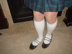 School Girl Uniform (dbbys shoes) Tags: school tv shoes cd bondage skirt blouse tgirl flats transvestite uniforms mjs tied kilts tiedup schoolgirl crossdresser straps schooluniform kneesocks handstied blackpatent lowheels anklestied