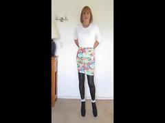 Floral Skirt (Trixy Deans) Tags: cute classic tv cd crossdressing tgirl tranny transvestite trans transgendered crossdresser crossdress shortskirts tg leggings transsexual shemale shortskirt trixy tgirls shemales transvesite transvetite