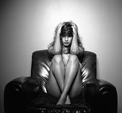 Devi (David W Oliver) Tags: blackandwhite film leather studio grid chair strobe devi hasselblad500c beautydish bwscan illford50