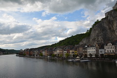 Dinant. (Azariel01) Tags: road panorama church rock stone river belgium belgique belgie pierre citadel route sight glise vue rocher dinant meuse fleuve 2014 citadelle