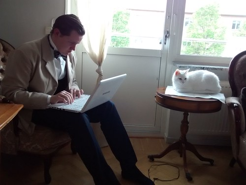 A gentleman and his cat