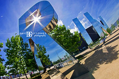 London Run (david gutierrez [ www.davidgutierrez.co.uk ]) Tags: park uk trees summer sky urban sculpture sun reflection green london art sports glass architecture clouds outdoors photography mirror design artwork shadows artistic steel perspective surreal wideangle run structure fisheye olympicpark monicabonvicini copperbox davidgutierrez pentaxk5