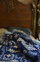 My Side (BKHagar *Kim*) Tags: wood blue white wooden bed sleep antique sleepy afghan headboard kens crocheted weddingflowers dreamcatcher myside bkhagar julesphotochallengegroup imadeitforhim