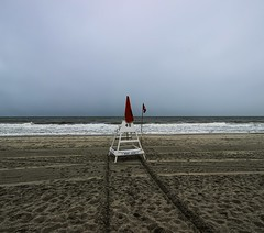Lonely Lifeguard (Forsaken Fotos) Tags: ocean vacation sc clouds myrtlebeach hurricane 2014 july4week july2014 hurricanearthur firsthurricaneoftheseason