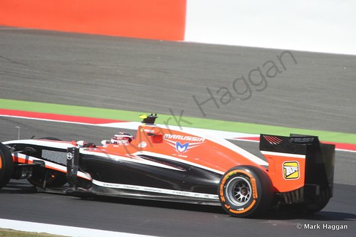 Jules Bianchi in his Marussia during Free Practice 1 at the 2014 British Grand Prix