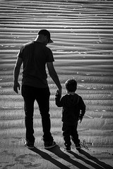 20140621_1400_1D3-95 Father and son (johnstewartnz) Tags: canon eos 1dmarkiii 1d3 1dmark3 70200mm 70200 beach scarborough alastair ethan blackandwhite bw monochrome silhouette 100canon nbpccompetitionentry