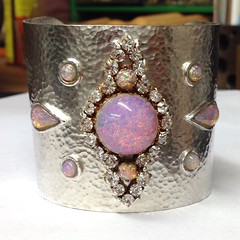 Simulated Opal and Paste cuff bangle