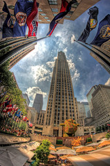 """Split-Rocker"" at Rockefeller Center (gimmeocean) Tags: nyc newyorkcity newyork manhattan rockefellercenter fisheye midtown hdr jeffkoons 30rock rockefellerplaza 30rockefellercenter publicartfund 8mmfisheye handheldhdr splitrocker bower8mmfisheye"