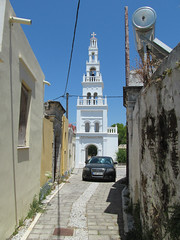 Campanile (pefkosmad) Tags: street vacation holiday church cat chat village tabby pussy hellas belltower campanile greece virginmary greekislands griechenland gatto rhodes katz dodecanese koskinou pefkosjune2014