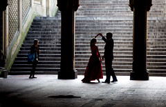 Central Park, Saturday Morning (Alex Szymanek) Tags: ny nyc newyork manhattan canon markiii people dance dancing saturday morning february silhouette silhouettes movement stairs cp central park light grace move red moment instant quiet silence gesture right place simple city downtown center dress up around fountain pillars architecture urbanite