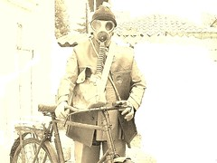 self portait with B.S.A mark v* 1942 and military cyclist gear (a tear for you greece) Tags: military bsa bicycle british remain greek greece ww2 1942 bike army gear gas mask korinth mark roadster