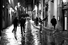 Rainy night (Roi.C) Tags: street people night black white blackwhite umbrella rain italy florence nikon5300 nikon winter season urban reflection silhouette walking
