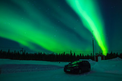 Aurora along with our transport (Rezwanul Islam (REZ1)) Tags: kittilä lapland finland fi aurora borealis spectacular display ford mondeo green light starry sky night photography northern lights landscape scandinavia levi ski resort canon 600d magical dancing finnish winter snow covered