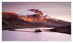 Red Storr in the Morning (Dave Fieldhouse Photography) Tags: isleofskye skye scotland highlands oldmanofstorr storr theoldmanofstorr lochfada loch mountains snow sunrise march2017 morning dawn sky clouds quiet still island fuji fujixt2 fujifilm widescreen panorama landscape outdoors wilderness red