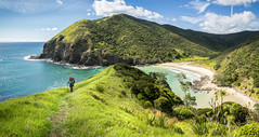 Hiker at Sandy Bay (loveexploring) Tags: capereingacoastalwalkway farnorth newzealand northisland pacificocean sandybay tepakicoastaltrail backpacking beach hiker hiking hikingtrail landscape outdoors panorama sea trail tramper walkingtrail