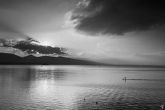 Swimming at sunrise (tzevang.com) Tags: sea piraeus bw bythesea votsalakia swimming morning clouds