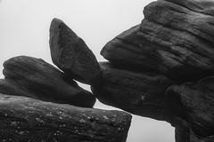 In Balance (l4ts) Tags: landscape derbyshire peakdistrict darkpeak higgertor shelterstone gritstone gritstonetors mist fog blackwhite lichen