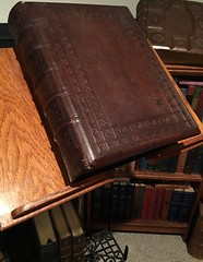 Victorian Dictionary Stand with 19th c. Leather Bible (Rat Dragon) Tags: charmed antiquewoodwoodenironmetaldictionarystandvictorianleatherbrownstudybibledisplaydecorlibrarybookbooksbookstand