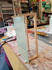 New mint green glass coffee table is together. The glue will have to dry overnight. (wpnschick) Tags: modernminiature hollywoodregencyminiature barbiefurniture playscale 16scale barbietable