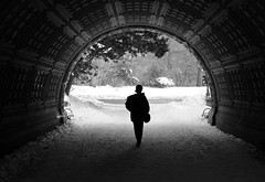 Beginning/End (Joseph Dimartino) Tags: blackandwhite bw street streetphoto monochrome art alone architecture snow spring winter tunnel home faceless conceptual exit entry prospectpark nyc fineart female hidden isolated light landscape person quiet space view trees