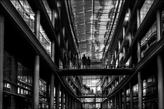 Traversée (vedebe) Tags: city ville rue urbain street humain people passerelles architecture noiretblanc netb nb bw monochrome pont