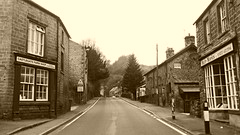 Stoney Middleton   April 2017 (dave_attrill) Tags: butchers castlegate farm shop hair works hairdressers sepia monochrome stoney middleton derbyshire peak district century village near eyam calver ancient highway limestone burning industry besom bootmaking candle roman settlement lord denman the avenue a623 architecture outdoor hope valley historic mid 17th april 2017 national park white lead mining mines domesday book