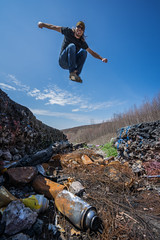 Above the Remnants (JeffMoreau) Tags: graffiti highway centralia vandalism spray can jump midair sony a7ii zeiss 16mm