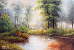 A Pond in the Woodland, Art Painting / Oil Painting For Sale - Arteet™ (arteetgallery) Tags: arteet oil paintings canvas art artwork fine arts nature water river tree landscape green forest park scenic sky lake pond countryside blue beauty landscapes impressionism forests lime paint