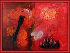MEN MOET ETEN OM TE LEVEN || IL FAUT MANGER POUR VIVRE (Anne-Miek Bibbe) Tags: canoneosm annemiekbibbe bibbe nederland 2017 edeutvivasnevivasutedas painting art acryl panel