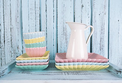 Pile plates on blue wooden background (♥Oxygen♥) Tags: ware ceramic empty green object pile table tableware color background blue cafe closeup collection copyspace dishware set beverage blank coffeecup colour colourful glass group handle houseware many nobody shot simple still studio style restaurant setting white dinner dish pastel shabby tender pink wood wooden plates plate vase food jug