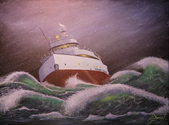 Through The Tempest (sdl39hogger) Tags: edmundfitzgerald ssedmundfitzgerald lakesuperior originalacrylicpainting acrylic acrylicpainting throughthetempest painting canvas