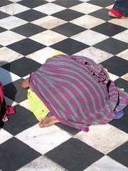 In an Indian mosque (vittorio vida) Tags: india mosque islam religion asia muslim floor black white woman