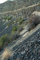 Return hike: scrambling slope... 20030928_098 (listorama) Tags: dryfalls grandcoulee iceagefloodsfeature basalt talus scramble