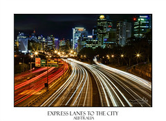 City express motorway at night (sugarbellaleah) Tags: city express rushhour cars transport motorway expresseay freeway buildings architecture night scenes cityscape urbanscape lights lighttrails taillights headlights lanes sydneyharbourbridge business evening longexposure vehicles warringahfreeway sydney northsydney australia