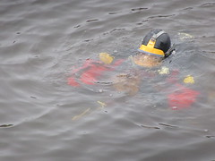 Sinking (chemsuiter) Tags: publicsafetydiver divetraining intheriver onthesurface divator drysuit