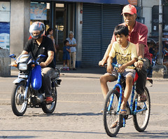 Bikers (Beegee49) Tags: motorcycle bicycle riding cycling two on man boy bacolod city philippines