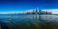 Panoramic view of Lower Manhattan Skyline with One World Trade Center - New York City NY (mbell1975) Tags: jerseycity newjersey unitedstates us panoramic view lower manhattan skyline with one world trade center new york city ny usa america nyc newyorkcity newyork skyscraper skyscrapers office building buildings river hudson water pano panorama vista lobster