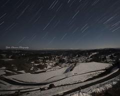 月明かりと早春の棚田 (yoko.wannwannmaru) Tags: 201704145x4n riceterrace april snow night moonlight hoshitoge