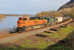 Take It On The Other Side (BravoDelta1999) Tags: burlingtonnorthernsantafe bnsf railway canadianpacific cp rail milwaukeeroad milw railroad riversubdivision dakota minnesota emd sd70ace 9053 ethanol train