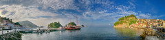Πάργα ο Μπόντες Parga Bodes panorama (Dimitil) Tags: sea seascape port boat parga epirus greece hellas sky clouds castle monuments