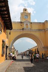 IMG_0403 (Los Santos Works) Tags: city tower clock nature beautiful landscape volcano amazing cityscape arch native guatemala awesome bonito vieja ciudad paisaje antigua gt arco chapin tradicion volcan