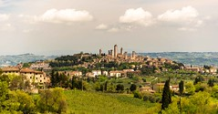 Medieval Manhattan (Franco Beccari) Tags: world city trip travel blue red vacation italy white holiday black color colour green tourism nature yellow architecture landscape photography nikon europe view medieval tuscany sangimignano nikkor d600