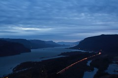 Cascade Rise (Mic_Jay) Tags: morning blue beautiful clouds oregon canon river dark landscape early washington long exposure pacific northwest cloudy relaxing columbia cascades gorge t3i