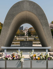 Hiroshima peace memorial (dangruzman) Tags: monument japan spring symmetry hiroshima atomic 2014