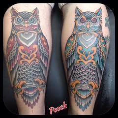Hot and cool owls #owltattoo #tattoo #lakeworthtattoo #westpalmbeachtattoo #pooch_art #alteredstatetattoo @neotatmachines @fusionink_ca